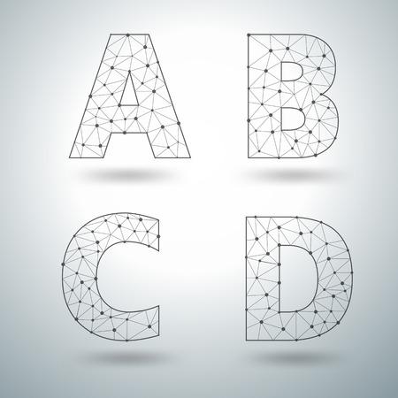 lettres alphabet: Mesh élégant lettres de l'alphabet numéros ABCD, la conception Vector illustration des modèles Illustration