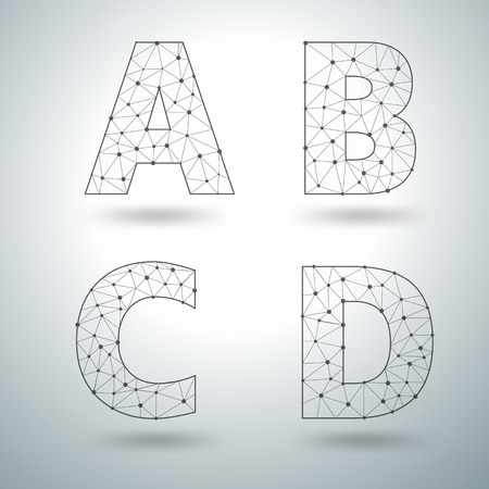 d: Mesh stylish alphabet letters numbers A B C D, Vector illustration templates design