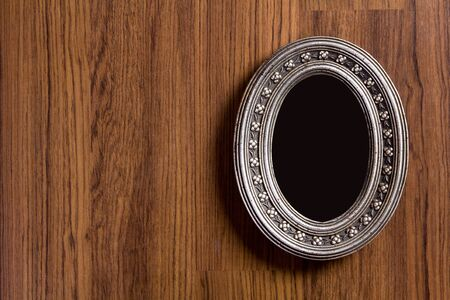 objects with clipping paths: Photo frame on wood texture background, Objects with clipping paths for design work