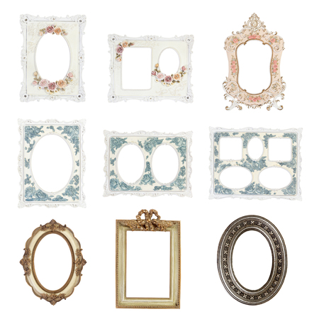 gold picture frame: Picture frames isolated on white background, Objects with clipping paths for design work Stock Photo