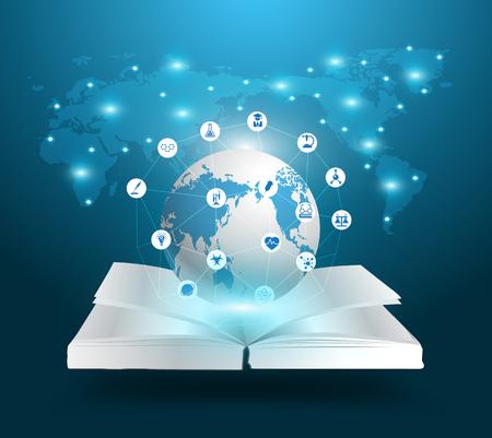 istruzione: Apra il libro ed il globo idee conoscenza concetto, con la chimica e la scienza istruzione icone, illustrazione vettoriale modello di progettazione moderno