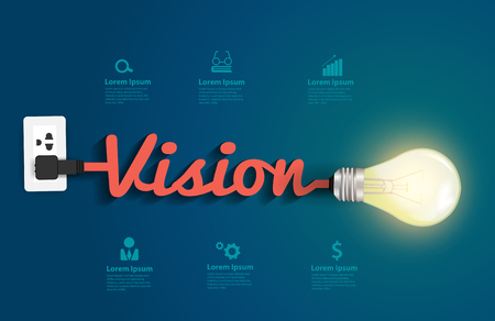vision concept: Vision concept with creative light bulb idea, Vector illustration modern design template