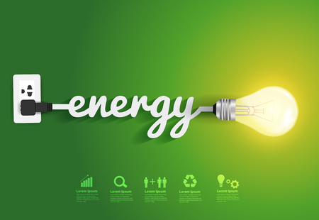 Energy saving and simple light bulbs.Green background vector illustration template design Vettoriali