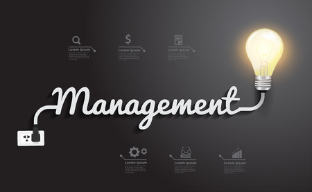 idea: Management concept with creative light bulb idea, Vector illustration modern design template