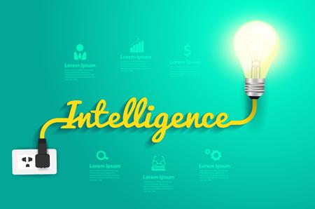 electricidad industrial: Concepto de Inteligencia con creativo idea bombilla, ilustración vectorial moderna plantilla de diseño Vectores