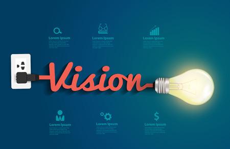 Visie concept met creatieve gloeilamp idee, Vector illustratie modern design template