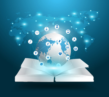 Open boek en bol kennis ideeën concept, met het onderwijs chemie en wetenschap iconen, Vector illustratie sjabloon modern design