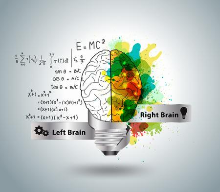 Concepto creativo del cerebro humano con las ideas de la bombilla, ilustración vectorial moderna plantilla de diseño