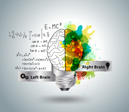 left right: Creative concept of the human brain with light bulb ideas, Vector illustration modern design template