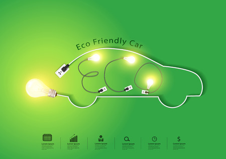 oil and gas: Eco friendly car with creative light bulb ideas concept, Vector illustration modern design template