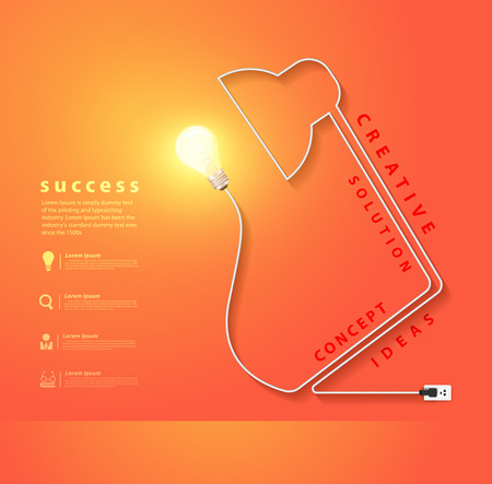 Vector desk lamp shaped electric cord energy and creativity concept