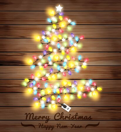 white wood: Christmas tree made of christmas lights, Vector illustration template design