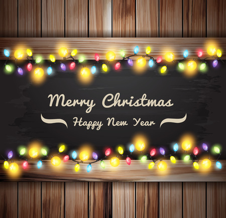 Christmas lights on wooden boards and chalkboard, Vector illustration template design Ilustração