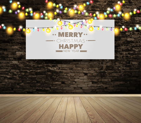 christmas poster: Blank billboard or poster on wall room with christmas lights Illustration