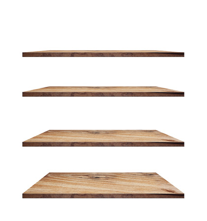 collection of wooden shelves on an isolated white background, Objects with Clipping Paths for design work