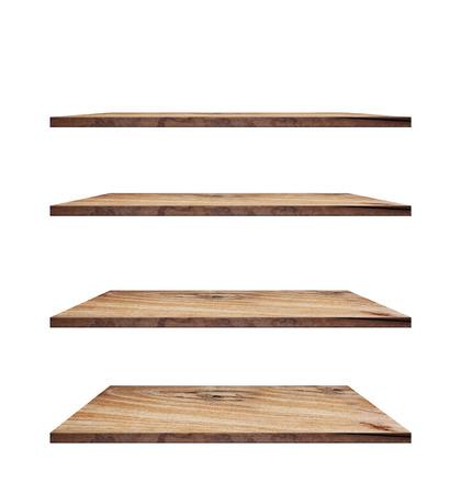estanterias: colección de estantes de madera sobre un fondo blanco aislado, objetos con los caminos de recortes por el trabajo de diseño Foto de archivo