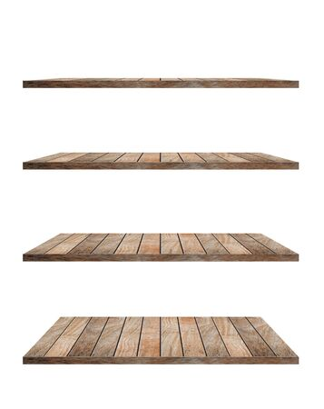 objects with clipping paths: collection of wooden shelves on an isolated white background, Objects with Clipping Paths for design work