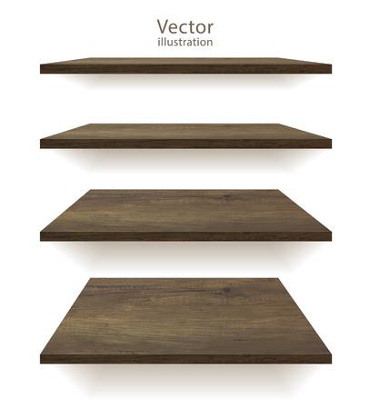 Vector wooden shelves on an isolated white background Stock Illustratie