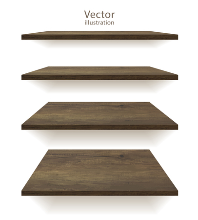 Vector wooden shelves on an isolated white background Çizim