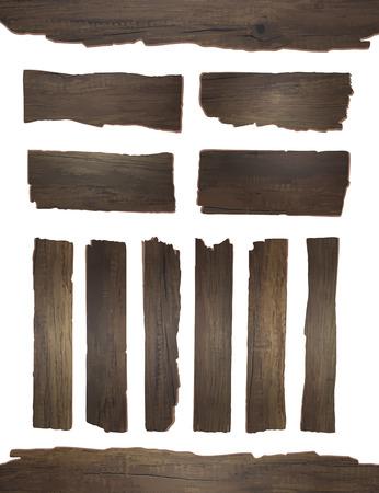marco madera: Tablón de madera del vector aislado en el fondo blanco