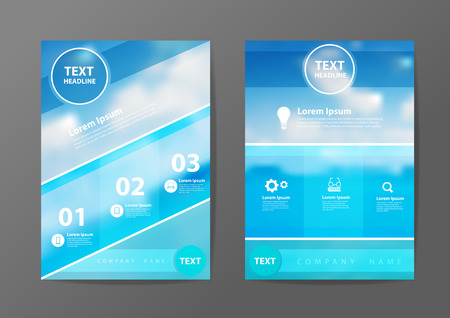 blue sea: Business brochure flyer design layout template in A4 size, With blurred of blue sea and clouds on sky background, Vector illustration modern design Illustration