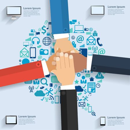 team hands: Business team showing unity with their hands together, With speech bubble cloud of application icons, Business software and social media networking idea concept, Vector illustration template design Illustration