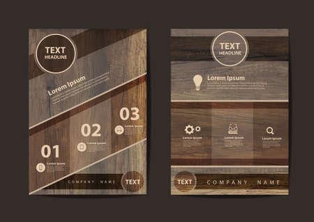 sjabloon: Zakelijke brochure flyer ontwerp lay-out sjabloon in A4-formaat, met textuur van hout achtergrond, Vector illustratie modern design Stock Illustratie