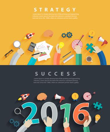Platte design concepten voor business analyse en de planning van het nieuwe jaar 2016, consulting, teamwerk, projectmanagement, brainstormen, onderzoek en ontwikkeling, Vector illustratie lay-out template bovenaanzicht Stock Illustratie