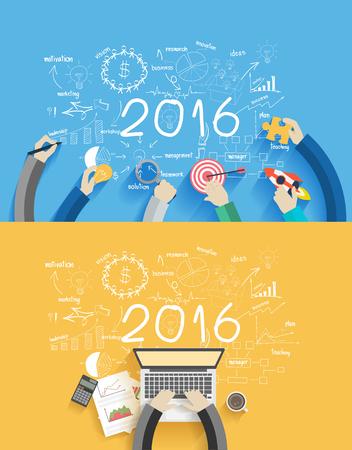 2016 nieuwe jaar zakelijk succes werken op laptop computer, Flat ontwerpconcepten voor het tekenen van analyse en planning, consulting, teamwerk, projectmanagement, brainstormen, onderzoek en ontwikkeling