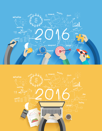 2016 new year business success working on laptop computer, Flat design concepts for drawing analysis and planning, consulting, team work, project management, brainstorming, research and development