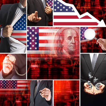bad planning: Economics crisis of usa, United States of America Flag with Face of Benjamin Franklin from one hundred dollars bill, Downtrend stock diagram ideas concept
