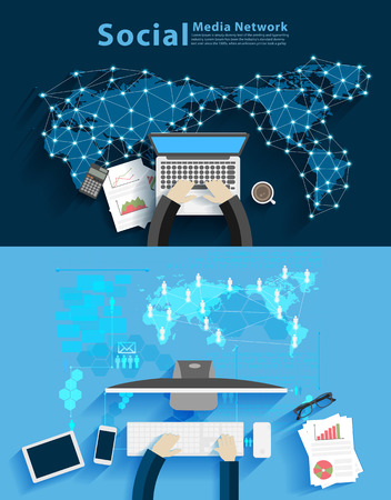 computer work: Social media network, Business man working on computer against technology background, consulting, project management, brainstorming, research and development, Vector illustration layout template