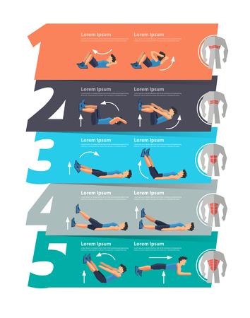 ejercicio aeróbico: Ejercicio abdominal infografía bandera, número 1 2 3 4 5 diseño, diagrama, intensificar opciones, ilustración vectorial plantilla de diseño moderno Vectores