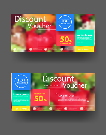 Discount voucher template with clean and modern pattern, With blurred background fruits and vegetables, illustration