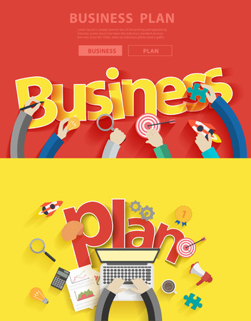 work team: Flat design concepts for business plan analysis and planning, consulting, team work, project management, brainstorming, research and development, illustration layout modern template top view Illustration