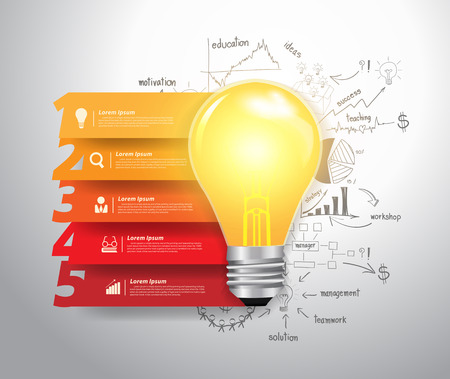 idea bulb: Abstract infographics numbers step options, With lightbulb ideas concept doodles creative thinking drawing business success strategy plan ideas, illustration modern layout template