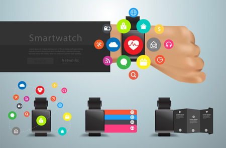 step up: Smartwatch social media networks user interface icons kit, With innovation technology creative design abstract infographic layout, diagram, step up options, illustration modern template