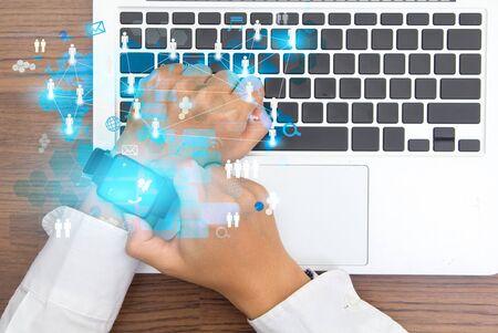 Touch screen smartwatch digital modern technology show social network structure