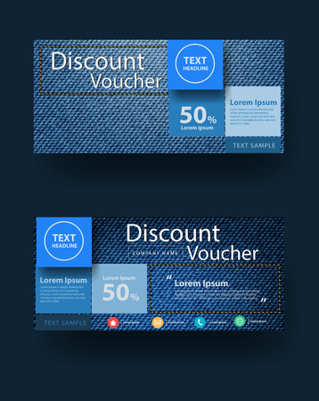 Blauwe jeans textuur achtergrond met kortingsbon layout template design, illustratie