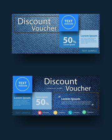Blue jeans texture de fond avec une remise de mise en page de bon modèle de conception, illustration