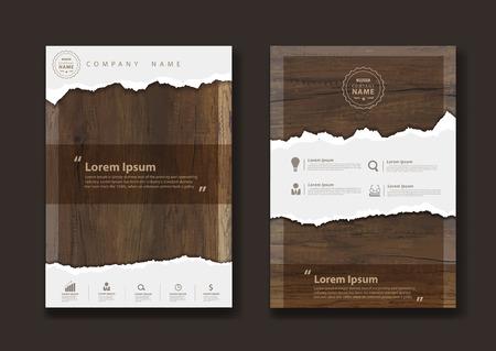 Gescheurd document op textuur van hout achtergrond, Business brochure ontwerp lay-out template in A4-formaat, illustratie modern design (Afbeelding spoor van houten achtergrond) Stock Illustratie