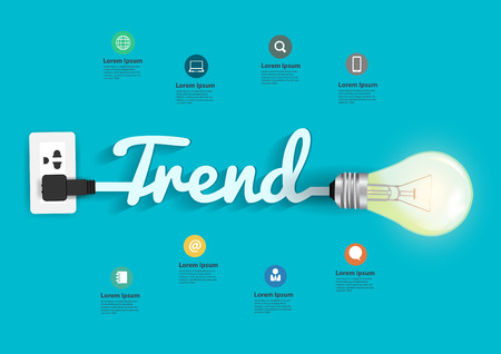 trend: Trend concept with creative light bulb idea, illustration modern design layout template