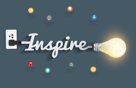 Inspire concept with creative light bulb idea, illustration modern design layout template
