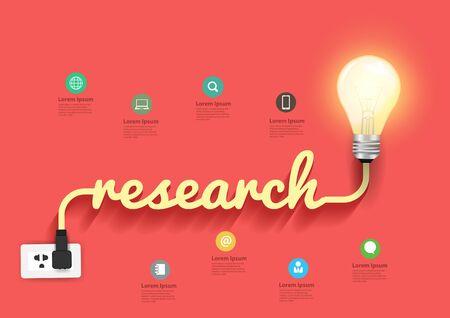 idea bulb: Research concept with creative light bulb idea, illustration modern design template