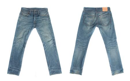 fold back: Blue jeans isolated on white background
