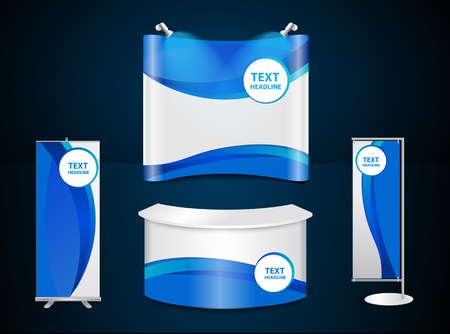 Exhibition stands with blue corporate identity template with digital elements Illustration