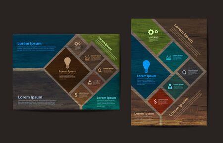 Zakelijke brochure flyer ontwerp lay-out template in A4-formaat, met textuur van hout achtergrond Vector Illustratie