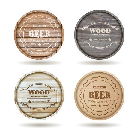 trompo de madera: Conjunto de barriles de madera con las bebidas alcohólicas emblemas de diseño - ilustración Plantilla