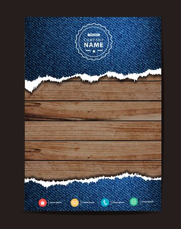 image size: Jeans texture on wood background, Business brochure design layout template in A4 size,illustration modern design ( Image trace of wooden background )