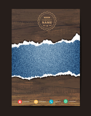 image size: Jeans texture on wood background, Business brochure design layout template in A4 size, illustration modern design ( Image trace of wooden background )